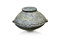 Early Minoan round bronze box with intricate pattern on lid,  George of the Dead 2600-2300 BC BC, Heraklion Archaeological  Museum, white background .