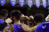 Saints team Huddle before the round two NBL match between the Wellington Saints and the Southland Sharks at TSB Bank Arena, Wellington, New Zealand on Friday 7 May 2021.<br /> Photo by Masanori Udagawa. <br /> www.photowellington.photoshelter.com