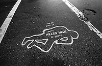 North America, United States of America, California, San Francisco, A marked death caused by traffic, ©Stephen Blake Farrington<br />