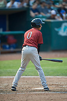 Offerman Collado (0) of the Idaho Falls Chukars bats against the Ogden Raptors at Lindquist Field on July 29, 2018 in Ogden, Utah. The Raptors defeated the Chukars 20-19. (Stephen Smith/Four Seam Images)
