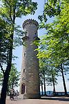 Germany, Thuringia, Ilmenau: view tower at Kickelhahn mountain (861 m) in Thuringian Forest   Deutschland, Thueringen, Ilmenau: Aussichtsturm auf dem Kickelhahn, 861 Meter hoher Berg im Thueringer Wald, der Goethe-Wanderweg fuehrt hier entlang