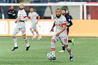 FOXBOROUGH, MA - OCTOBER 7: Nick DeLeon #18 of Toronto FC looks to pass during a game between Toronto FC and New England Revolution at Gillette Stadium on October 7, 2020 in Foxborough, Massachusetts.