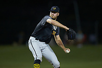 Wilson Tobs relief pitcher Tyler Grauer (30) (Indiana State University) in action against the High Point-Thomasville HiToms at Finch Field on July 17, 2020 in Thomasville, NC. The Tobs defeated the HiToms 2-1. (Brian Westerholt/Four Seam Images)