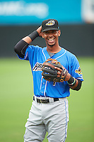 Akron RubberDucks shortstop Ivan Castillo (1) during warmups before the first game of a doubleheader against the Bowie Baysox on June 5, 2016 at Prince George's Stadium in Bowie, Maryland.  Bowie defeated Akron 6-0.  (Mike Janes/Four Seam Images)