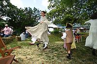Historical re-enactors enjoy a festival at Pharsalia in Nelson County, Va. .