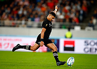 Richie Mo'unga of New Zealand (All Blacks) during the 2019 Rugby World Cup bronze final match between New Zealand All Blacks and Wales at the Tokyo Stadium at the Tokyo Stadium in Tokyo, Japan on Friday, 1 November 2019. Photo: Steve Haag / stevehaagsports.com