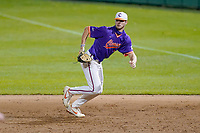 Caden Grice (31) of the Clemson Tigers plays defense at first base in a fall Orange-Purple intrasquad scrimmage on Friday, November 13, 2020, at Doug Kingsmore Stadium in Clemson, South Carolina. (Tom Priddy/Four Seam Images)