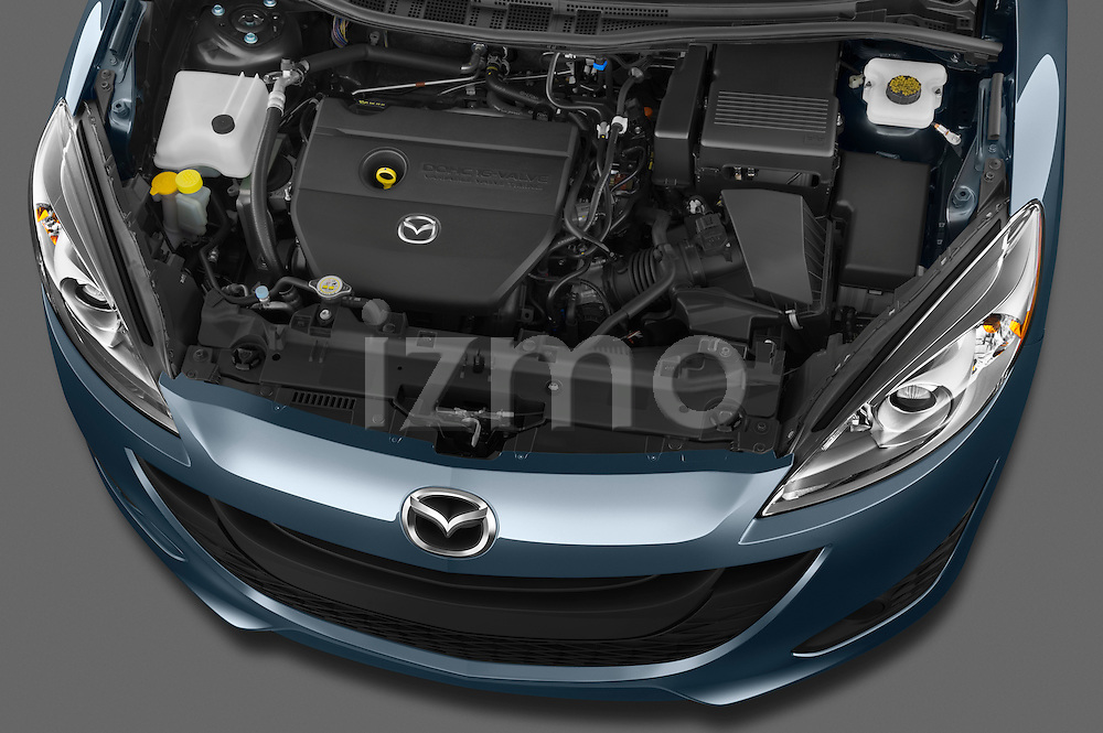 High angle engine detail of a 2012 Mazda Mazda5 .
