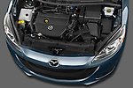 High angle engine detail of a 2012 Mazda Mazda5 .