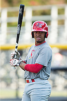 Edmundo Sosa (19) of the Johnson City Cardinals during batting practice prior to the game against the Burlington Royals at Burlington Athletic Park on August 22, 2015 in Burlington, North Carolina.  The Cardinals defeated the Royals 9-3. (Brian Westerholt/Four Seam Images)
