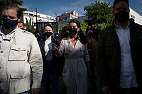 MADRID, SPAIN – MAY 04: Isabel diaz Ayuso candidate of the political party VOX, arrive to cast her vote on 4 May in Madrid, Spain. During the day of May 4, 2021. (Photo by Joan Amengual / VIEWpress via Getty Images)
