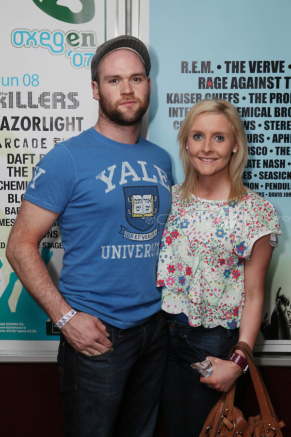 NO REPRO FEE. OXYGEN 2011 LAUNCH. Pictured at the Academy, Dublin for the launch of Oxygen 2011 are  Emer Harkin and Aodhan Mc Breen . The three day music festival which takes place July 8th, 9th, 10th at Punchestown Racecourse, Naas, Co Kildare. Picture James Horan/Collins Photos