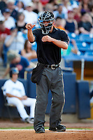 Umpire John Burzynski during a Midwest League game between the Lake County Captains and Fort Wayne TinCaps at Classic Park on July 2, 2012 in Eastlake, Ohio.  Fort Wayne defeated Lake County 5-4.  (Mike Janes/Four Seam Images)