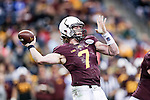 Minnesota Golden Gophers quarterback Mitch Leidner (7) in action during the Texas Bowl game between the Syracuse Orange and the Minnesota Golden Gophers at the Reliant Stadium in Houston, Texas. Syracuse defeats Minnesota 21 to 17.
