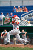 Auburn Doubledays left fielder Pablo O'Connor (28) follows through on a swing during a game against the Batavia Muckdogs on September 1, 2018 at Dwyer Stadium in Batavia, New York.  Auburn defeated Batavia 10-5.  (Mike Janes/Four Seam Images)