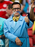 An Argentina fan with a painted moustache
