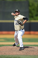 Wake Forest Demon Deacons relief pitcher Parker Johnson (22) in action against the Pitt Panthers at David F. Couch Ballpark on May 20, 2017 in Winston-Salem, North Carolina. The Demon Deacons defeated the Panthers 14-4.  (Brian Westerholt/Four Seam Images)