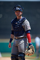 Lehigh Valley IronPigs catcher Nick Rickles (9) during a game against the Rochester Red Wings on July 1, 2018 at Frontier Field in Rochester, New York.  Rochester defeated Lehigh Valley 7-6.  (Mike Janes/Four Seam Images)