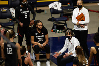 BERKELEY, CA - DECEMBER 13: Head coach Tara VanDerveer of the Stanford Cardinal talks with the team during a time out during a game between University of California-Berkeley and Stanford Women's Basketball at Haas Pavilion on December 13, 2020 in Berkeley, California.