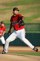 May 19, 2010: Jorge Reyes of the Lake Elsinore Storm during game against the Stockton Ports at The Diamond in Lake Elsinore,CA.  Photo by Larry Goren/Four Seam Images