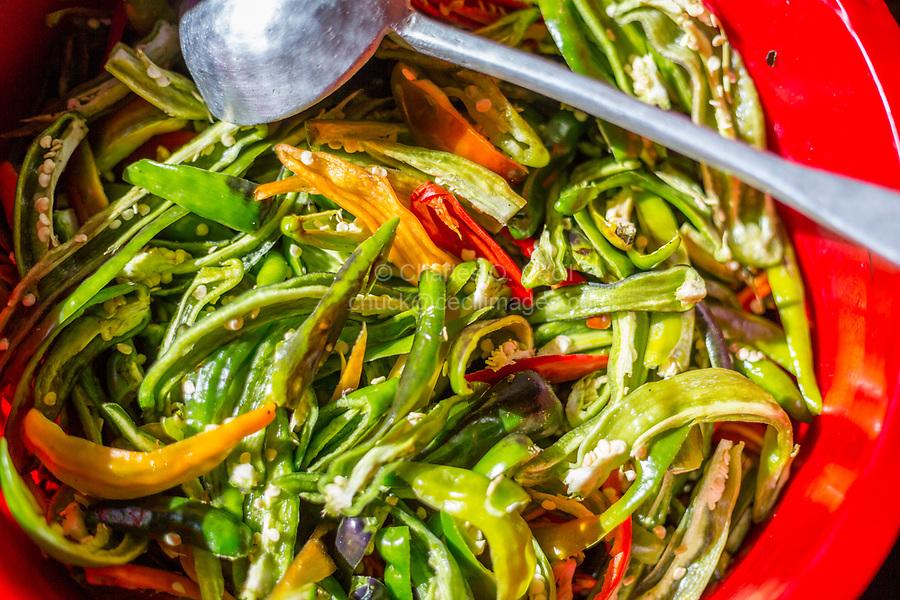 Prakhar Lhakhang, Bumthang, Bhutan.  Bowl of Chili Peppers.
