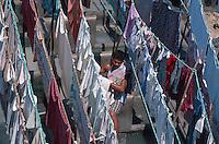 Wäscher an den Dhobi Ghats, Bombay (Mumbai), Maharashtra, Indien