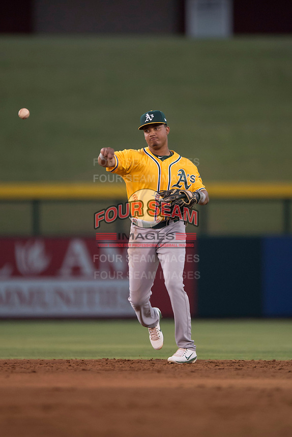 AZL Athletics second baseman Christopher Quintin (18) during an Arizona League game against the AZL Cubs 1 at Sloan Park on June 28, 2018 in Mesa, Arizona. The AZL Athletics defeated the AZL Cubs 1 5-4. (Zachary Lucy/Four Seam Images)