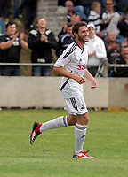 Pictured: Angel Rangel of Swansea celebrating his goal. Saturday 17 July 2011<br />