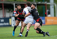 Jarrod Sammut of London Broncos and Will Lovell of London Broncos during the Betfred Championship match between London Broncos and Newcastle Thunder at The Rock, Rosslyn Park, London, England on 9 May 2021. Photo by Liam McAvoy.
