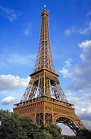 The Eiffel Tower in Paris, France. ornate architecture, landmark. Paris, France.