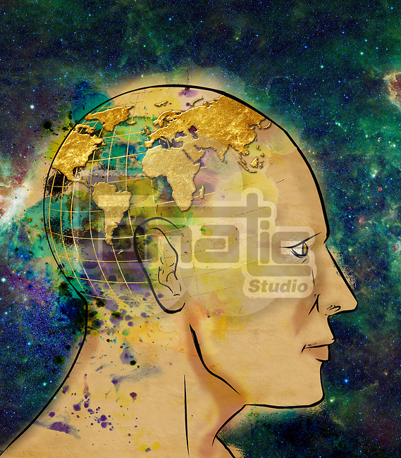 Illustrative image of man with world map on head representing globalization