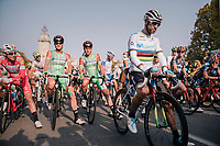 World Champion Alejandro Valverde (ESP/Movistar) at the race start in Bergamo<br /> <br /> 112th Il Lombardia 2018 (ITA)<br /> from Bergamo to Como: 241km