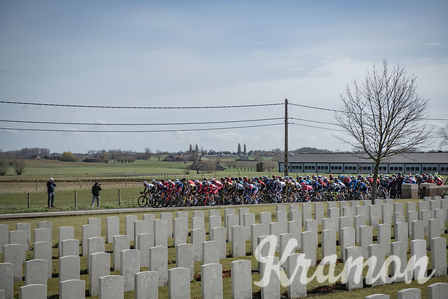 Passing by 1 of many War Cemeteries along the race route<br /> <br /> 83rd Gent-Wevelgem - in Flanders Fields (ME - 1.UWT)<br /> 1 day race from Ieper to Wevelgem (BEL): 254km<br /> <br /> ©kramon