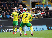 2nd October 2021;  Turf Moor, Burnley, Lancashire, England; Premier League football, Burnley versus Norwich City: Jay Rodriguez of Burnley attempts volley at goal