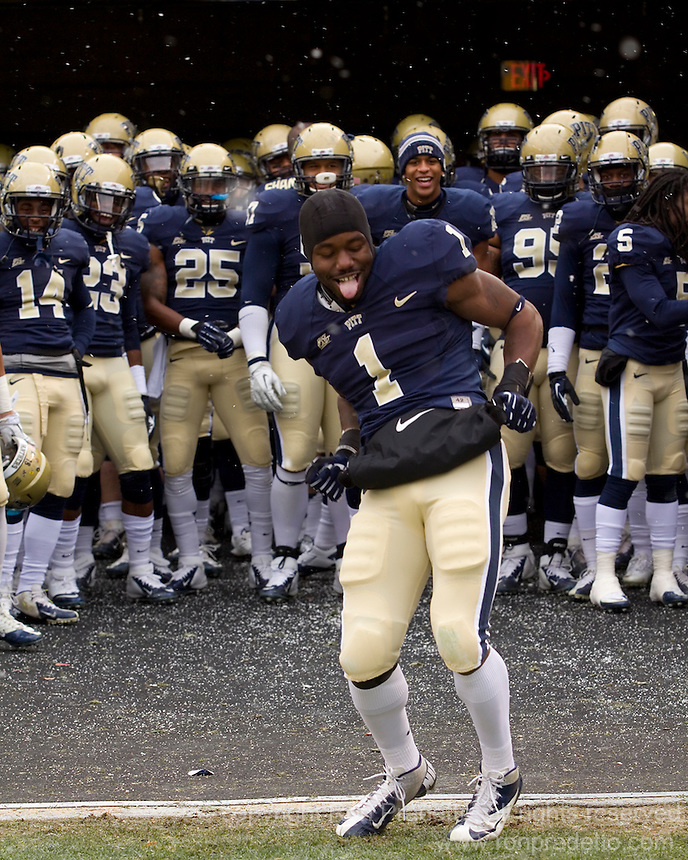 Ray Graham does a dance after his introduction on Senior Day. The Pitt Panthers defeat the Rutgers Scarlet Knights 27-6 on Saturday, November 24, 2012 at Heinz Field , Pittsburgh, PA.