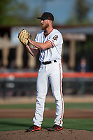 San Jose Giants starting pitcher Conner Menez (34) prepares to deliver a pitch during a California League game against the Modesto Nuts at San Jose Municipal Stadium on May 15, 2018 in San Jose, California. Modesto defeated San Jose 7-5. (Zachary Lucy/Four Seam Images)