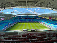 16th May 2020, Red Bull Arena, Leipzig, Germany; Bundesliga football, Leipzig versus FC Freiburg; The Red Bull Arena Leipzig kick-off in front of empty stands