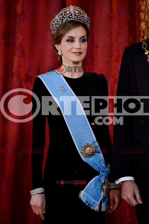 Queen Letitzia during the gala dinner given to the President of the Argentine Republic, Sr. Mauricio Macri and Sra Juliana Awada at Real Palace in Madrid, Spain. February 19, 2017. (ALTERPHOTOS/BorjaB.Hojas) /NortEPhoto.com