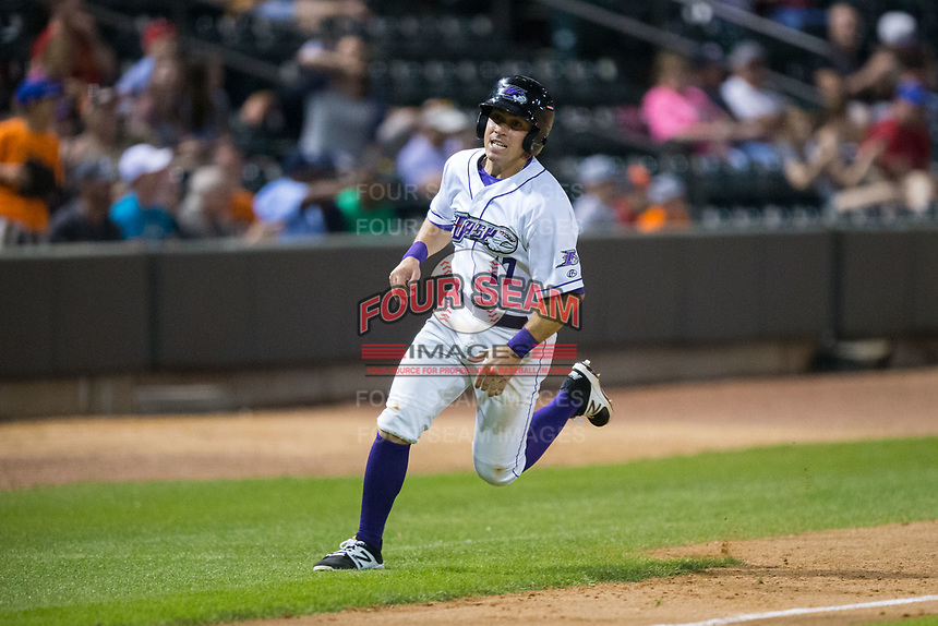 Danny Mendick (17) of the Winston-Salem Dash hustles towards home plate against the Buies Creek Astros at BB&T Ballpark on April 15, 2017 in Winston-Salem, North Carolina.  The Astros defeated the Dash 13-6.  (Brian Westerholt/Four Seam Images)