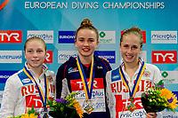 10 m. platform W. Podium (L to R) Anna Chuinyshena RUS Silver Medal; Lois Tolson GBR Gold medal; Iuliia Timoshinina RUS Bronze medal<br /> 10 m. platform women<br /> LEN European Diving Championships 2017<br /> Sport Center LIKO, Kiev UKR<br /> Jun 12 - 18, 2017<br /> Day02 13-06-2017<br /> Photo © Giorgio Scala/Deepbluemedia/Insidefoto