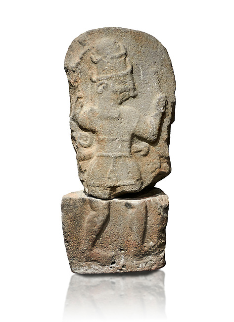 Hittite monumental relief sculpture of a god probably about to kill a lion (missing) with his axe. Late Hittite Period - 900-700 BC. Adana Archaeology Museum, Turkey. Against a white background