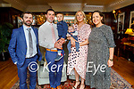The christening of Tadgh John Kenny from Tiduff, Ballyheigue in Ballygarry Estate Hotel and Spa on Saturday, l to r: Tony Kenny (GF), Adrian, Noah and Edel Kenny and Hannah Leen (GM).
