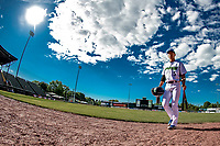 29 May 2021: Vermont Lake Monsters Infielder Caleb Jung, from La Mirada, CA, walks to the dugout prior to a game against the Norwich Sea Unicorns at Centennial Field in Burlington, Vermont. The Lake Monsters defeated the Sea Unicorns 6-3 in their FCBL Home Opener, the first home game played at Centennial Field post-Covid-19 pandemic. Mandatory Credit: Ed Wolfstein Photo *** RAW (NEF) Image File Available ***