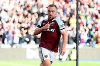 3rd October 2021;   City of London Stadium, London, England; EPL Premier League football, West Ham versus Brentford; Jarrod Bowen of West Ham United celebrates as he scores for 1-1 in the 80th minute
