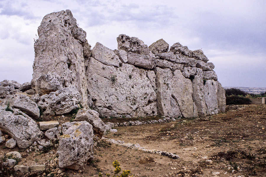Ggantija, Gozo. - Wall of South Temple.  The stone temples of Malta and Gozo are the oldest stone constructions in the world, pre-dating the Egyptian pyramids and Stonehenge by as much as a thousand years.  Ggantija was built around 3500BC.