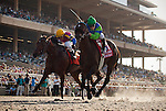 Include Me Out with jockey Joe Talamo aboard (right) defeats Star Billing and Rafael Bejarano (left) to win the Clement L. Hirsch Stakes at Del Mar Race Course in Del Mar, California on August 4, 2012.