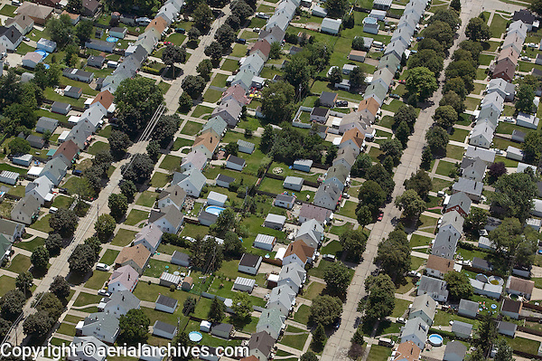 aerial view above residential subdivision west side Cleveland Ohio
