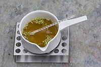 6. Schritt Nachtkerzen-Creme-selbermachen: Nachtkerzenöl, Lanolin und Bienenwachs werden verrührt in einen Topf und auf 60°C erwärmt, der auf einem Stövchen erwärmt wird. Nachtkerzen-Heilcreme, Nachtkerzencreme, Herstellung von Heilsalbe, Heilcreme, Kreme, Hautcreme, Creme, Salbe, Creme selbermachen aus Nachtkerzenöl, Nachtkerzentee, Lanolin und Bienenwachs, Cosmetics, cosmetics self-made, cream, crème, onguent, baume, pommade cicatrisante. Gewöhnliche Nachtkerze, Zweijährige Nachtkerze, Oenothera biennis, Common Evening Primrose, Evening-Primrose, Evening star, Sun drop, Onagre