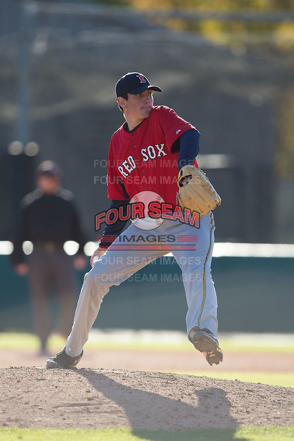 Andrew Papp (31) of Leesville Road High School in Raleigh, North Carolina playing for the Boston Red Sox scout team at the South Atlantic Border Battle at Doak Field on November 2, 2014.  (Brian Westerholt/Four Seam Images)