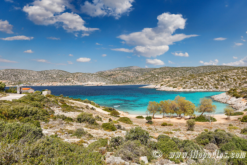 The beach Agia Dynami in Chios island, Greece